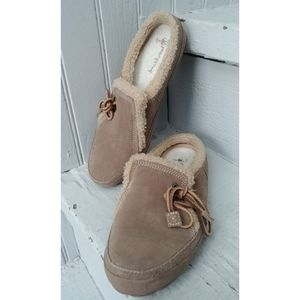 New brown leather & sherpa Timberland slippers 6.5